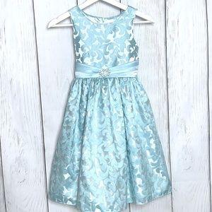 Girls Ice Blue & White Dressy Dress
